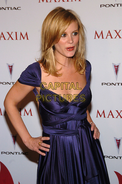 BONNIE SOMERVILLE.Maxim Magazine's 8th Annual Hot 100 Party at Gansevoort Hotel, New York City, New York, USA..May 16th, 2007.half length purple dress satin hands on hips .CAP/ADM/BL.©Bill Lyons/AdMedia/Capital Pictures *** Local Caption ***