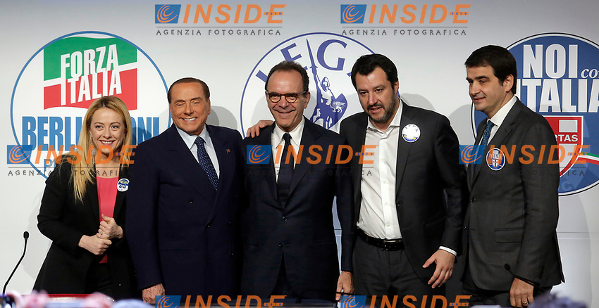 Giorgia Meloni, Silvio Berlusconi e Matteo Salvini, Stefano Parisi e Raffaele Fitto<br /> Roma 01/03/2018. Incontro dei leader della coalizione di centrodestra.<br /> Rome March 01st 2018. Meeting of the leaders of the centre-right coalition at the next political elections in Italy, that will take place on March 4th. <br /> Foto Samantha Zucchi Insidefoto