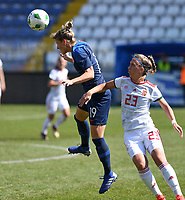 20190306 - LARNACA , CYPRUS : Hungarian Zsanett Kajan pictured defending on Slovakian Jana Vojtekova during a women's soccer game between Slovakia and Hungary , on Wednesday 6 th March 2019 at the Antonis Papadopoulos stadium in Larnaca , Cyprus . This last game for both teams which decides for places 11 and 12 of the Cyprus Womens Cup 2019 , a prestigious women soccer tournament as a preparation on the Uefa Women's Euro 2021 qualification duels. PHOTO SPORTPIX.BE | DAVID CATRY