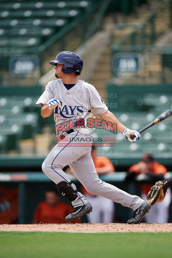 GCL Rays third baseman Cristhian Pedroza (39) follows through on a swing during a game against the GCL Orioles on July 21, 2017 at Ed Smith Stadium in Sarasota, Florida.  GCL Orioles defeated the GCL Rays 9-0.  (Mike Janes/Four Seam Images)