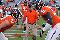 Oct 23, 2010; Charlottesville, VA, USA; Virginia Cavaliers defensive coordinator Jim Reid before the game against the Eastern Michigan Eagles at Scott Stadium.  Virginia won 48-21. Mandatory Credit: Andrew Shurtleff