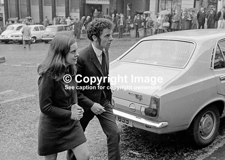 Bernadette Devlin, MP, arrives at the Courthouse, Omagh, Co Tyrone, N Ireland, UK, accompanied by fellow defendent, Eamonn McCann, to face charges as a result of disturbances at a local council meeting. They were both fined &pound;20 and given a three months suspended sentence.197005180173b.<br />