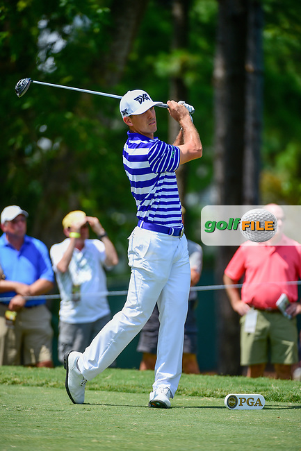 Billy Horschel (USA) watches his tee shot on 5 during Thursday's round 1 of the PGA Championship at the Quail Hollow Club in Charlotte, North Carolina. 8/10/2017.<br /> Picture: Golffile | Ken Murray<br /> <br /> <br /> All photo usage must carry mandatory copyright credit (&copy; Golffile | Ken Murray)