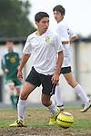Palos Verdes, CA 02/07/12 - Oscar Chacon (Peninsula #8) in action during the Mira Costa vs Peninsula Boys Varsity soccer bay league game.