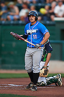 Hudson Valley Renegades first baseman Hector Montes (11) at bat during a game against the Vermont Lake Monsters on September 3, 2015 at Centennial Field in Burlington, Vermont.  Vermont defeated Hudson Valley 4-1.  (Mike Janes/Four Seam Images)