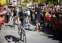 Alejandro Valverde (ESP/Movistar) cheered to along the way to sign-in<br /> <br /> stage 19: Medina del Campo - Avila (186km)<br /> 2015 Vuelta &agrave; Espana