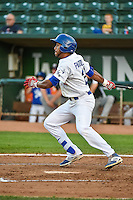Jordan Paroubeck (22) of the Ogden Raptors at bat against the Grand Junction Rockies in Pioneer League action at Lindquist Field on September 3, 2015 in Ogden, Utah. Grand Junction defeated Ogden 16-8. (Stephen Smith/Four Seam Images)