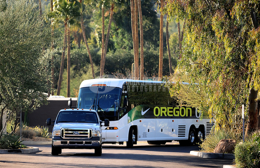 Jan. 7, 2011; Scottsdale, AZ, USA; Oregon Ducks players arrive with police escort during media day at the JW Marriott for the 2011 BCS National Championship game against the Auburn Tigers to be played on January 10, 2011. Mandatory Credit: Mark J. Rebilas-