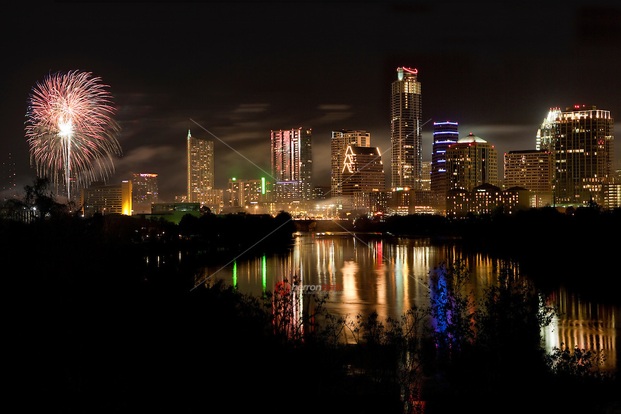 Austin Brings in the New Year with Fireworks Spectacular Display on Ladybird Lake in downtown Austin, Texas.