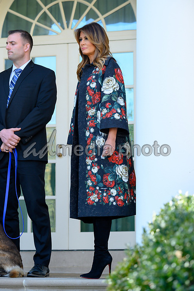First lady Melania Trump participates in an event introducing Conan, the United States Army dog that assisted in the raid that killed ISIS leader Abu Bakr al-Baghdadi, in the Rose Garden of the White House. Credit: Erin Scott / CNP/AdMedia