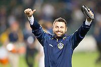 CARSON, CA – NOVEMBER 7:  LA Galaxy midfielder Dema Kovalenko (21) celebrates after a playoff soccer match at the Home Depot Center, November 7, 2010 in Carson, California. Final score LA Galaxy 2, Seattle Sounders 1.