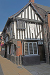The Royal Oak pub, The Shambles, Chesterfield, Derbyshire, England, one of Britain's oldest pubs.  The sign outside states that the building was once a rest house for the Knights Templar during the time of the Crusades.