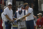 European Team Captain Nick Faldo and player Ian Poulter on the 1st tee during the Singles on the Final Day of the Ryder Cup at Valhalla Golf Club, Louisville, Kentucky, USA, 21st September 2008 (Photo by Eoin Clarke/GOLFFILE)