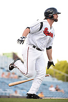 Nashville Sounds first baseman Sean Halton (44) runs to first during the first game of a double header against the Omaha Storm Chasers on May 21, 2014 at Herschel Greer Stadium in Nashville, Tennessee.  Nashville defeated Omaha 5-4.  (Mike Janes/Four Seam Images)