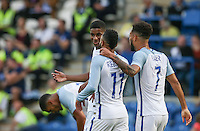 Marcus Rashford (left) (Manchester United) of England celebrates his 2nd goal during the International EURO U21 QUALIFYING - GROUP 9 match between England U21 and Norway U21 at the Weston Homes Community Stadium, Colchester, England on 6 September 2016. Photo by Andy Rowland / PRiME Media Images.