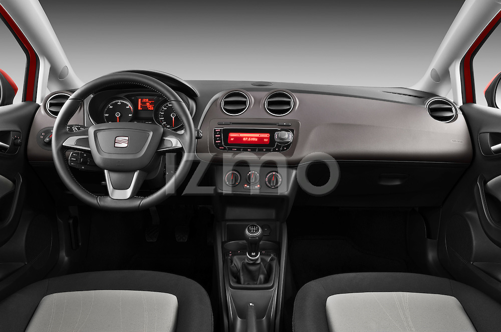 Straight dashboard view of a 2013 Seat Ibiza Style Hatchback.