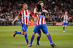 Atletico de Madrid's Nico Gaitán, Saúl Ñígez an Koke Resurrección celebrating a goal during La Liga match between Atletico de Madrid and Real Betis at Vicente Calderon Stadium in Madrid, Spain. January 14, 2017. (ALTERPHOTOS/BorjaB.Hojas)