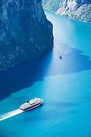 Hurtigurten coastal steamer  in Geiranger Fjord, Norway