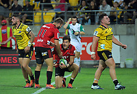 George Bridge congratulates David Havili on his try during the Super Rugby match between the Hurricanes and Crusaders at Westpac Stadium in Wellington, New Zealand on Friday, 29 March 2019. Photo: Dave Lintott / lintottphoto.co.nz