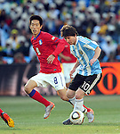 10 Lionel MESSI during the 2010 World Cup Soccer match between Argentina vs Korea Republic played at Soccer City in Johannesburg, South Africa on 17 June 2010.  Photo: Gerhard Steenkamp/Cleva Media