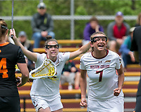 Newton, Massachusetts - May 13, 2018: NCAA Division I tournament. Boston College (white), defeated Princeton University (black), 16-10, at Newton Campus Lacrosse Field.<br /> Goal celebration.