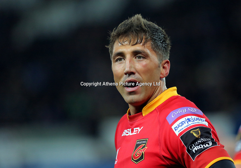 Gavin Henson of the Dragons in action during the Guinness PRO14 match between Ospreys and Dragons at The Liberty Stadium, Swansea, Wales, UK. Friday 27 October 2017