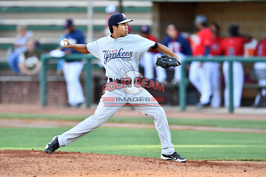 Pulaski Yankees starting pitcher Carlos Espinal (35) delivers a pitch during a game against the Elizabethton Twins at Joe O'Brien Field on June 27, 2016 in Elizabethton, Tennessee. The Yankees defeated the Twins 6-4. (Tony Farlow/Four Seam Images)