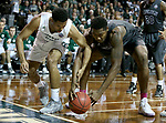 SIOUX FALLS, SD: MARCH 23: Chris Perry #1 from Lincoln Memorial battles for the loose ball with Anthony Woods #20 from Northwest Missouri State during the Men's Division II Basketball Championship Tournament on March 23, 2017 at the Sanford Pentagon in Sioux Falls, SD. (Photo by Dave Eggen/Inertia)