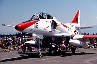 US Navy Douglas A-4 Skyhawk Military Aircraft on Static Display - at Abbotsford International Airshow, BC, British Columbia, Canada
