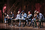 "Lauren Boyd, Anthony Lee Medina, Javon McFerrin, Bryan Terrell Clark, Sasha Hollinger, Eliz Ohman, Nik Walker from the 'Hamilton' cast during the student Q & A before  The Rockefeller Foundation and The Gilder Lehrman Institute of American History sponsored High School student #EduHam matinee performance of ""Hamilton"" at the Richard Rodgers Theatre on 4/26/2017 in New York City."