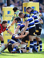 Charlie Ewels of Bath Rugby is congratulated on his second half try by team-mates. Aviva Premiership match, between Bath Rugby and Newcastle Falcons on September 23, 2017 at the Recreation Ground in Bath, England. Photo by: Patrick Khachfe / Onside Images