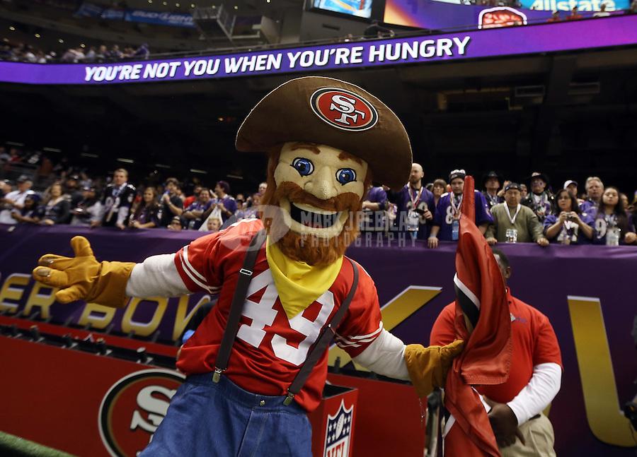 Feb 3, 2013; New Orleans, LA, USA; San Francisco 49ers mascot performs before Super Bowl XLVII against the Baltimore Ravens at the Mercedes-Benz Superdome. Mandatory Credit: Mark J. Rebilas-