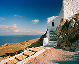GREECE, Patmos, Dodecanese Island, church at the top of the Profitis Ilias, the highest point of the island of Patmos