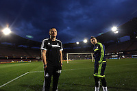 Wednesday 26 February 2014<br /> Pictured L-R: Manager Garry Monk and Pablo Hernandez inspect the stadium before the press conference.<br /> Re: Swansea City FC press conference and training at San Paolo in Naples Italy for their UEFA Europa League game against Napoli.