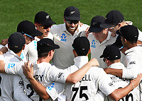30th November 2019, Hamilton, New Zealand;  NZ Captain Kane Williamson talks to the players in the team huddle on day 2 of 2nd test match between New Zealand and England,  International Cricket at Seddon Park, Hamilton, New Zealand.  - Editorial Use