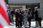 Mourners arrive at the College Hill United Methodist Church before the funeral for assassinated abortion doctor George Tiller in Wichita, Kansas on June 6, 2009.  Tiller was gunned down while serving as an usher at his church last Sunday by Scott Roeder, who is now in custody, in a political crime with reverberations across the region and the country; Tiller's Wichita clinic had previously served as a culture wars flashpoint in the 1990s.