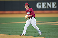 Harvard Crimson second baseman Mitch Klug (6) on defense against the Wake Forest Demon Deacons at David F. Couch Ballpark on March 5, 2016 in Winston-Salem, North Carolina.  The Crimson defeated the Demon Deacons 6-3.  (Brian Westerholt/Four Seam Images)