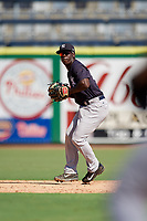 New York Yankees Sincere Smith (10) throws to first base during a Florida Instructional League game against the Philadelphia Phillies on October 12, 2018 at Spectrum Field in Clearwater, Florida.  (Mike Janes/Four Seam Images)