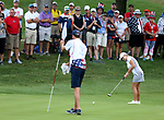 DES MOINES, IA - AUGUST 19: USA's Cristie Kerr rolls an eagle putt on the 4th hole during Saturday morning's foursomes match at the 2017 Solheim Cup in Des Moines, IA. (Photo by Dave Eggen/Inertia)