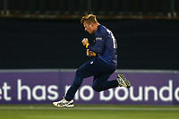 Simon Harmer celebrates taking the wicket of James Hildreth during Essex Eagles vs Somerset, NatWest T20 Blast Cricket at The Cloudfm County Ground on 13th July 2017