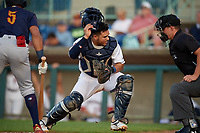 Mahoning Valley Scrappers catcher Yainer Diaz (48) during a NY-Penn League game against the State College Spikes on August 29, 2019 at Eastwood Field in Niles, Ohio.  State College defeated Mahoning Valley 8-1.  (Mike Janes/Four Seam Images)