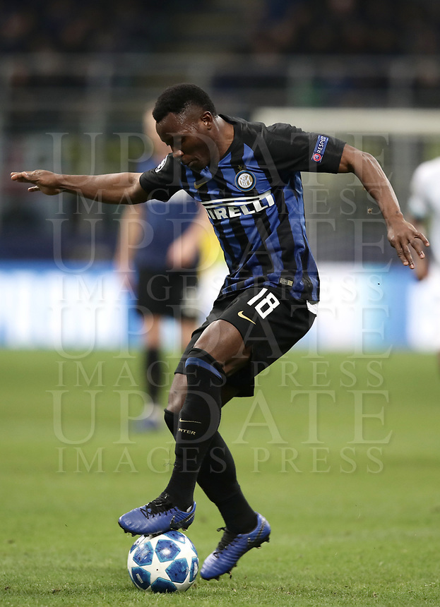 Football: UEFA Champions League -Group Stage - Group B - FC Internazionale Milano vs PSV Eindhoven, Giuseppe Meazza  (San Siro) Stadium, Milan Italy, December 11, 2018.<br /> Inter Milan's Kwadwo Asamoah in action during the Uefa Champions League football match between Inter Milan and PSV Eindhoven at Giuseppe Meazza  (San Siro) Stadium in Milan on December 11, 2018. <br /> UPDATE IMAGES PRESS/Isabella Bonotto