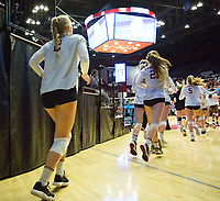 STANFORD, CA - December 1, 2017: Kathryn Plummer, Sidney Wilson, Blake Sharp at Maples Pavilion. The Stanford Cardinal defeated the CSU Bakersfield Roadrunners 3-0 in the first round of the NCAA tournament.
