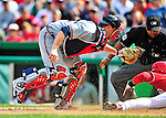 26 September 2010: Atlanta Braves catcher  Brian McCann gets Washington Nationals' infielder Alberto Gonzalez out at the plate on a Rick Ankiel throw from center during a tag-up play at Nationals Park in Washington, DC. The Nationals defeated the pennant-seeking Braves 4-2 to take the rubber match of their 3-game series. Mandatory Credit: Ed Wolfstein Photo
