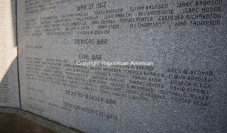 MIDDLEBURY,  CT,  CT-041115JS90- This monument, in Ledgewood Memorial Park in Middlebury, contains the names of local Civil War soldiers and was dedicated in 2000. <br /> Jim Shannon Republican-American
