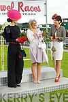 Emer Nash, (third) Kate Ferguson (winner) and Susan Moriarty (Second) finalists in the best dressed lady competition pictured at Listowel races on Sunday.