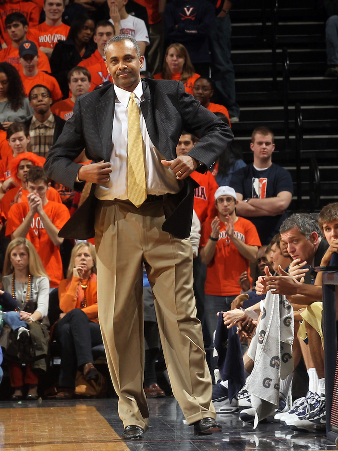 Jan. 22, 2011; Charlottesville, VA, USA; Georgia Tech Yellow Jackets head coach Paul Hewitt reacts to a call during the game against the Virginia Cavaliers at the John Paul Jones Arena. Virginia won 72-64. Mandatory Credit: Andrew Shurtleff-US PRESSWIRE