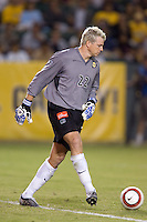 Kevin Hartman passes the ball to a Galaxy defender in the US Open Cup at the Home Depot Center, in Carson, Calif., Wednesday, September 28, 2005.