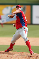 Philadelphia Phillies pitcher Joe Blanton #58 delivers a pitch during an Instructional League game against the Detroit Tigers at Bright House Field on October 10, 2011 in Clearwater, Florida.  Blanton pitched two innings for the Phillies.  (Mike Janes/Four Seam Images)