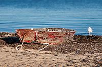 Rustic rowboat on the beach, Cape Cod, Massachusetts, USA